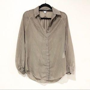 Reiss Emeric Striped Sheer Button Down Blouse